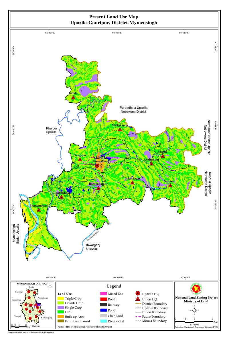 Gouripur Upazila Mouza Map Mymensingh District Bangladesh