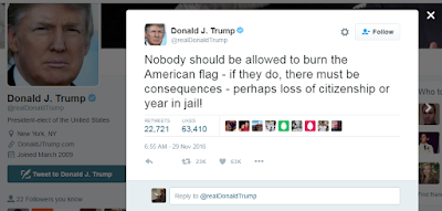 """Image of Donald Trump tweet from November 29: """"Nobody should be allowed to burn the American flag - if they do, there must be consequences - perhaps loss of citizenship or year in jail!"""""""