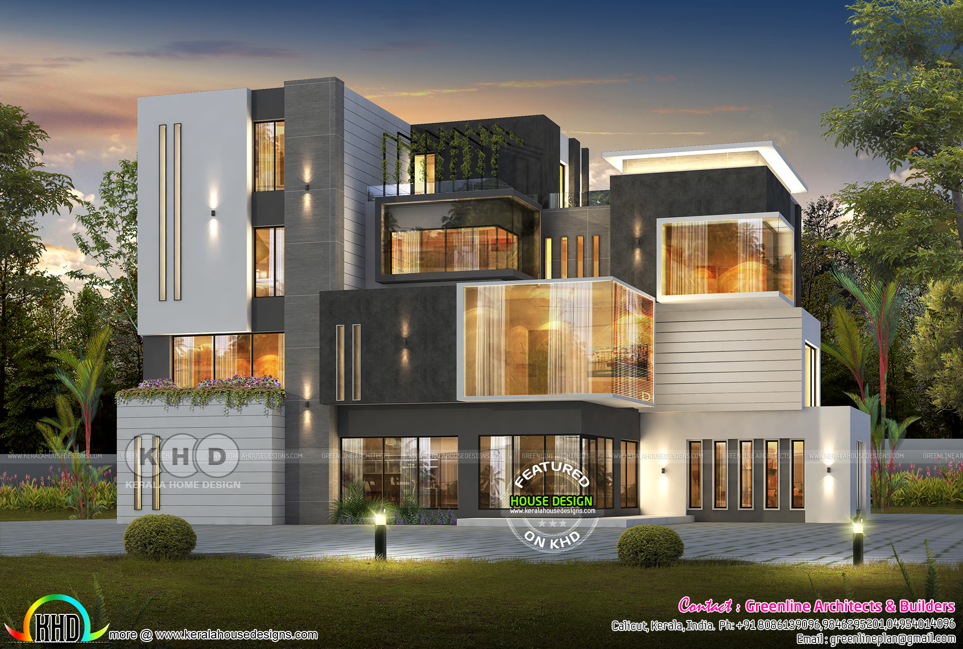 7 bedroom box model ultra modern home - Kerala home design ...