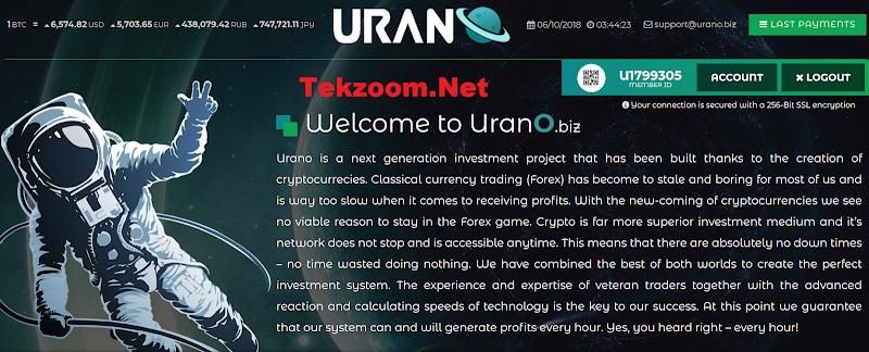 [SCAM] Review Hyip Urano.Biz - Lãi up 3.6% hằng ngày - Thanh toán tức thì - Hoàn vốn đầu tư