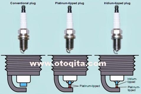 Gambar perbedaan bentuk busi konvensional dengan busi platinum atau iridium