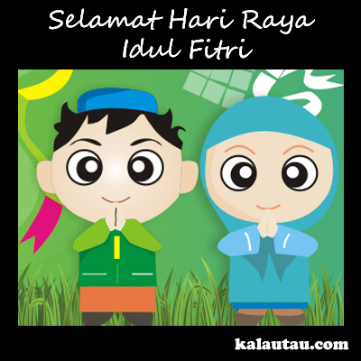 kalautau.com - Gambar Selamat Idul Fitri versi kartun