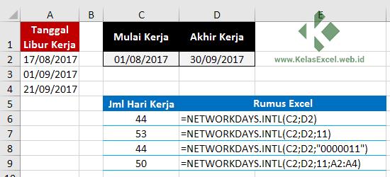 Contoh Rumus Networkdays.Intl