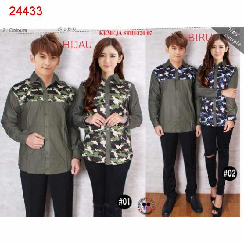 Jual Kemeja Couple Kemeja Army Kombinasi - 24433