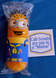 scouting snacks, cub scout minion, twinkie cub scout, free printable minion snack