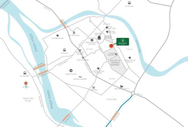 Vị trí chung cư Eco City Việt Hưng Long Biên