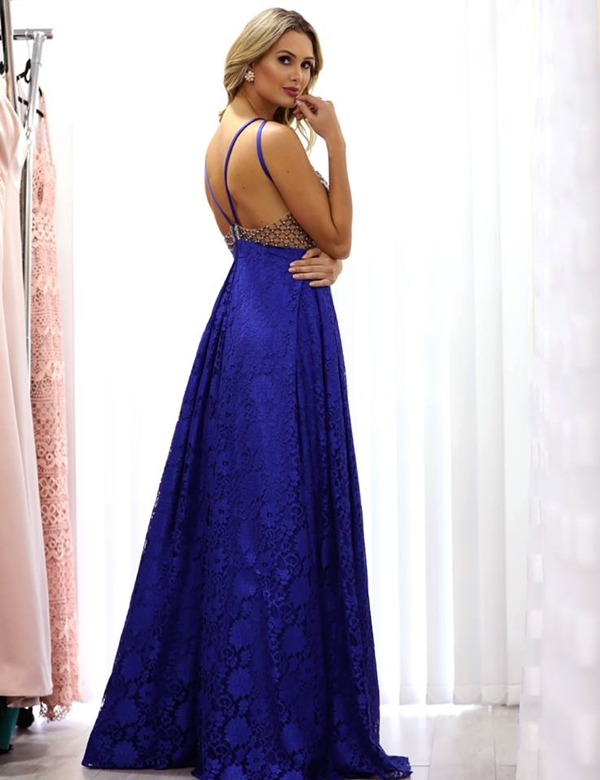 vestido de festa longo azul royal bic