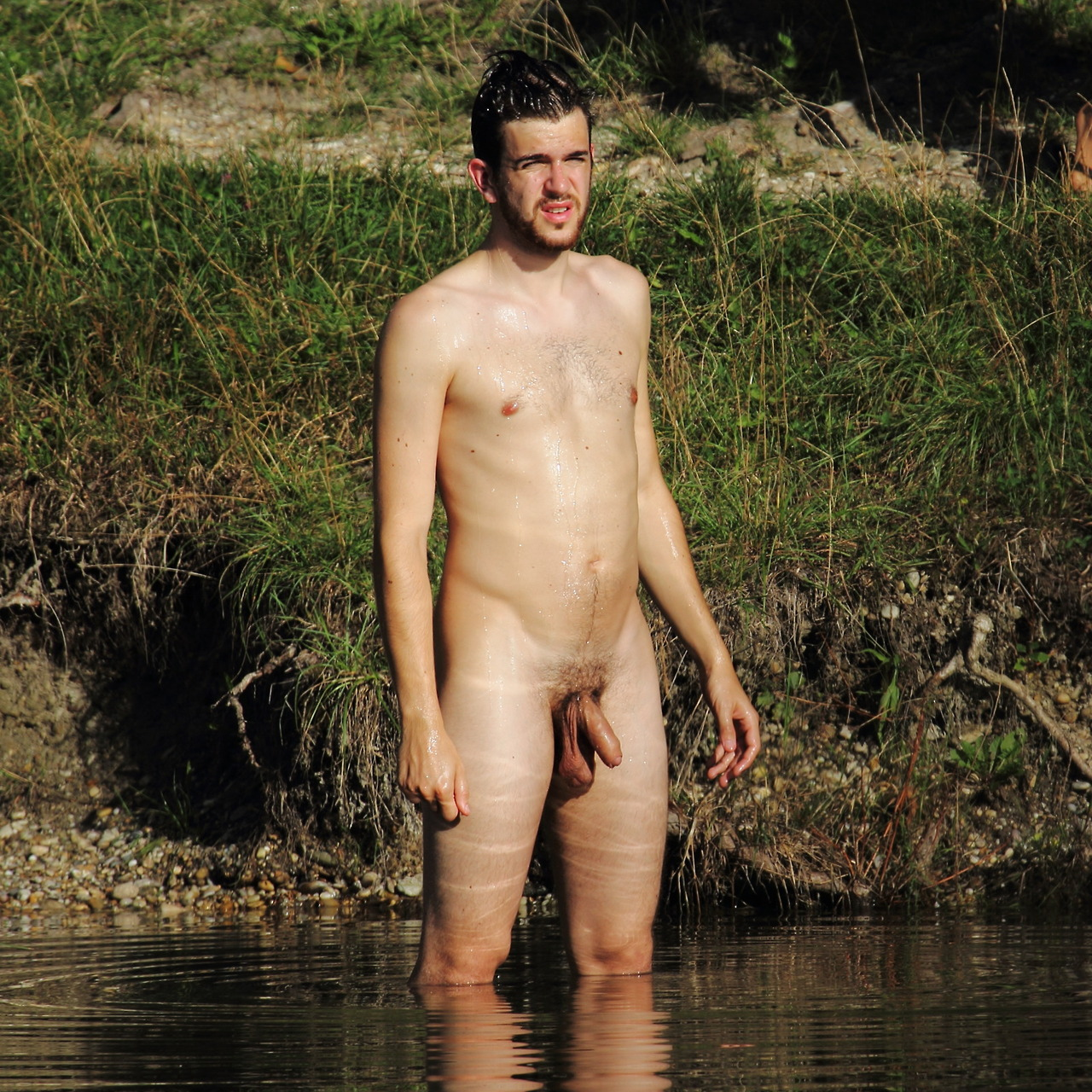 guy naked in lake