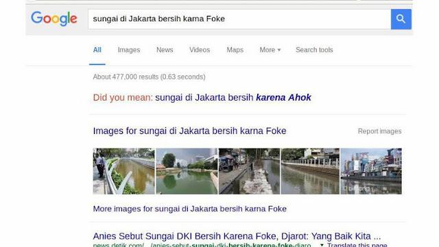 Ahok: Ketik 'Sungai Bersih karena Foke' Di Google Dan Lihat Hasilnya!
