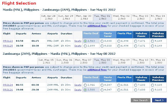 Philippine Airlines online booking - flight selection page