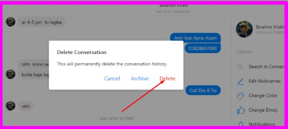 how to delete messages on facebook messenger on pc