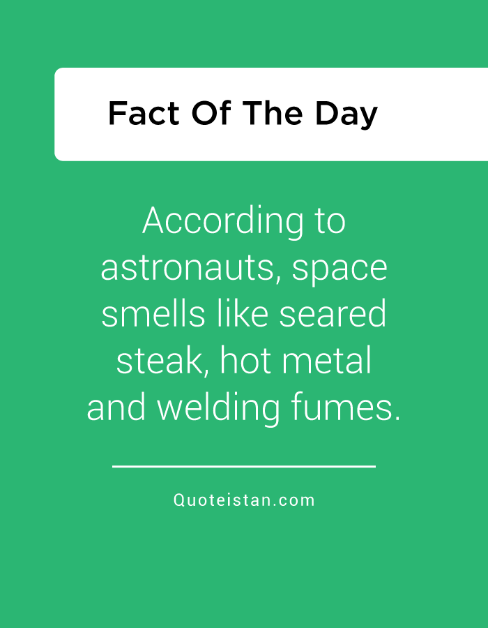 According to astronauts, space smells like seared steak, hot metal and welding fumes.