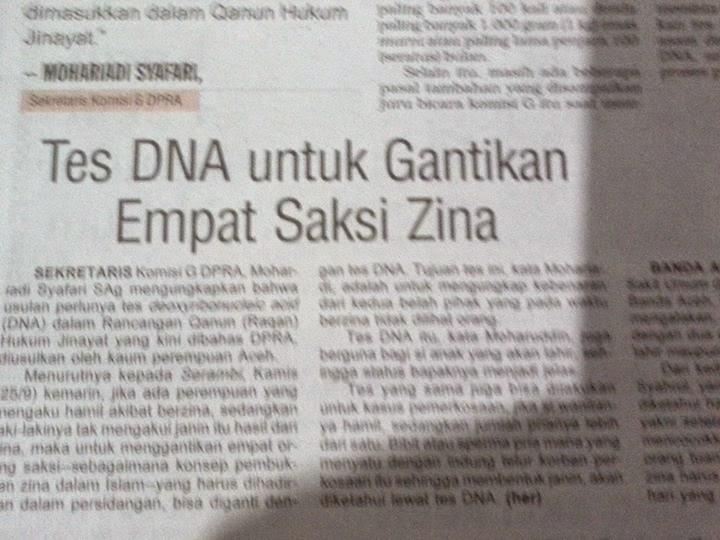 Tes DNA Gantikan Empat Saksi Zina