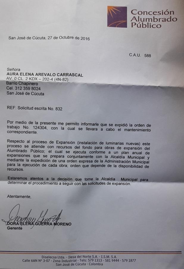 Concesión Alumbrado Público Cúcuta: Respuesta a Aura Elena Arévalo Carrascal #ReporteroSoyYo #RSY #CorpoFrotera #CF