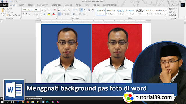 Cara mengganti backgraund pas photo di word + Video
