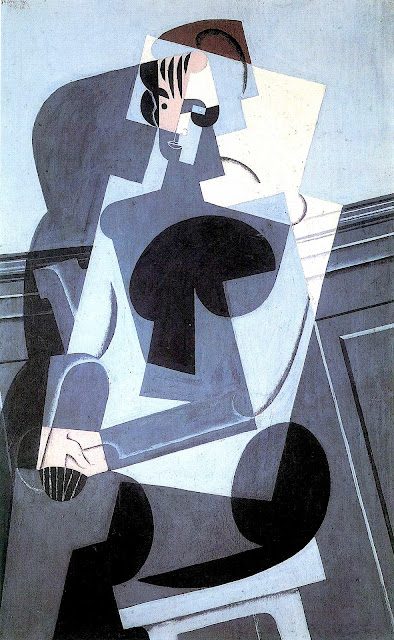 Juan Gris painting of seated woman in blue