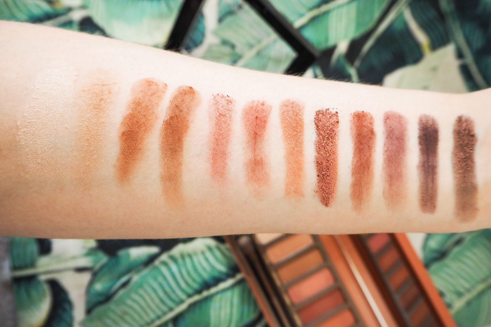 Full swatches pale skin of the eyeshadows in the Urban Decay Naked Heat Palette