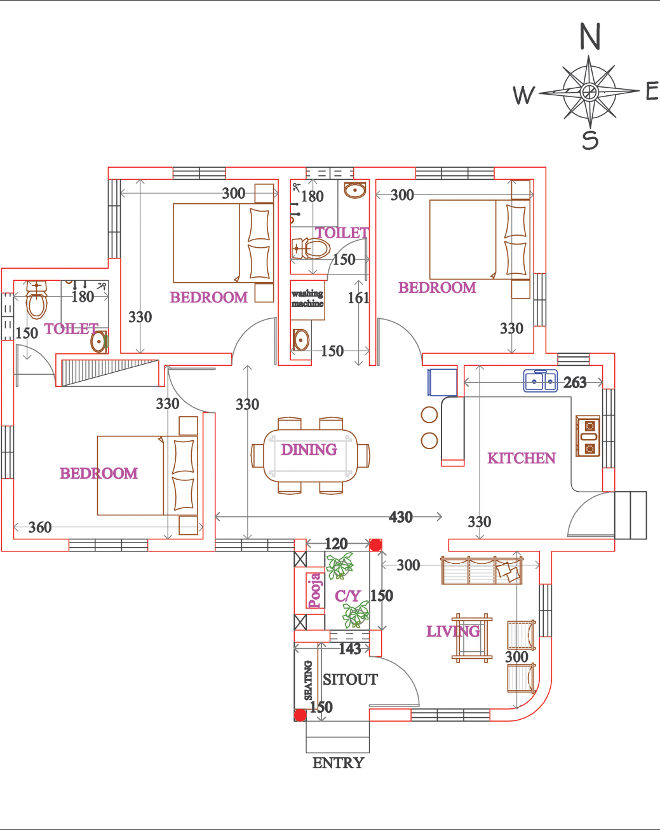 Budget 3 Bedroom House Plan In 900 Sqft With Courtyard Pooja Room Kerala Home Planners