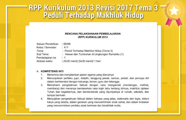 RPP Kurikulum 2013 Revisi 2017 Tema 3 Peduli Terhadap Makhluk Hidup