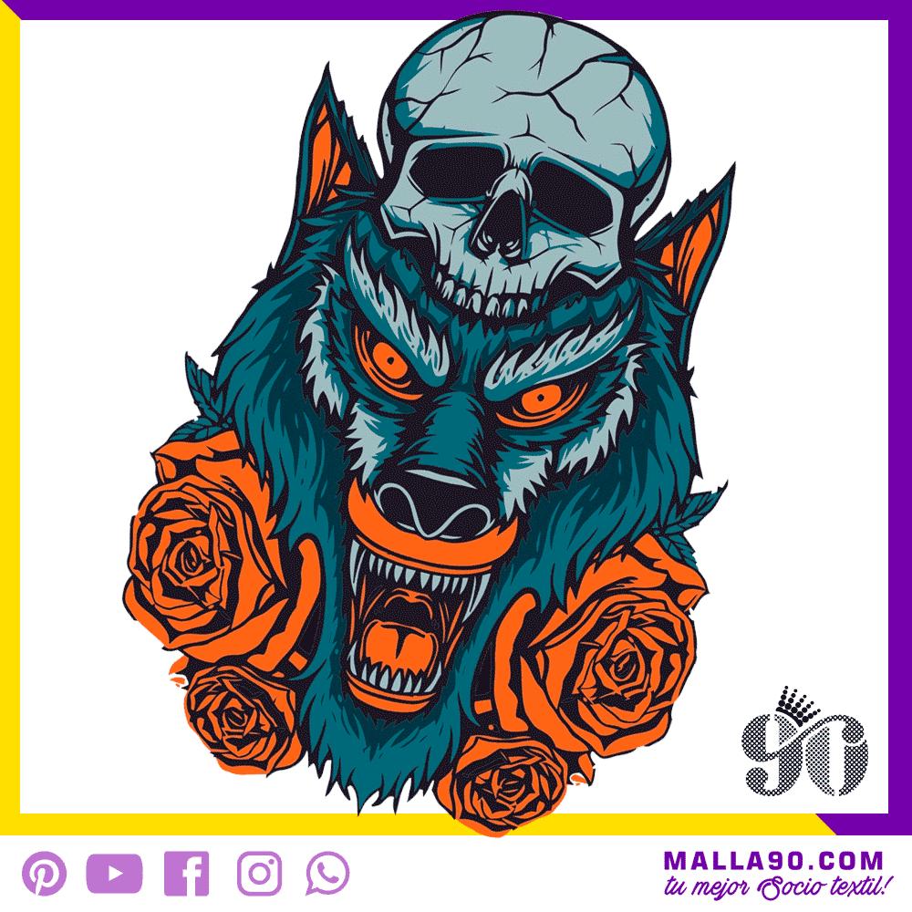 Lobo y Rosas Diseños sin Copyright