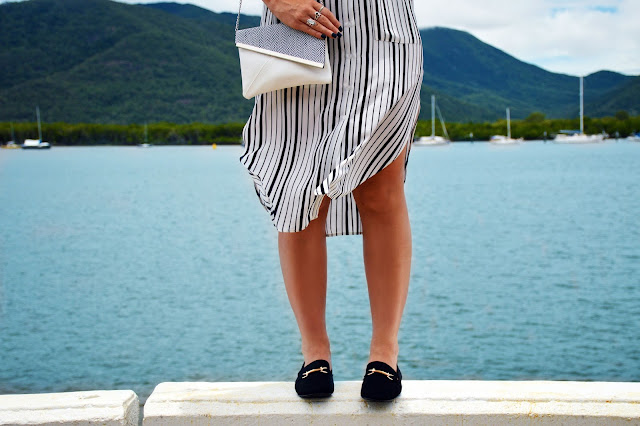 gucci loafer dupes styled with stripe shirt dress