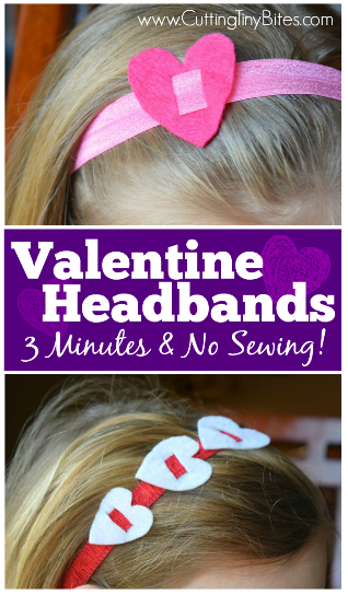 Quick and easy Valentine's Day Headbands. Make them in under 3 minutes, and requires no sewing! Make them in red, pink, and white with fold-over elastic!