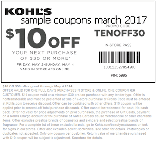Kohls coupons march 2017