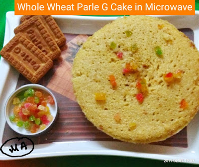 cake made up of Whole Wheat flour and parle G biscuits and baked in microwave