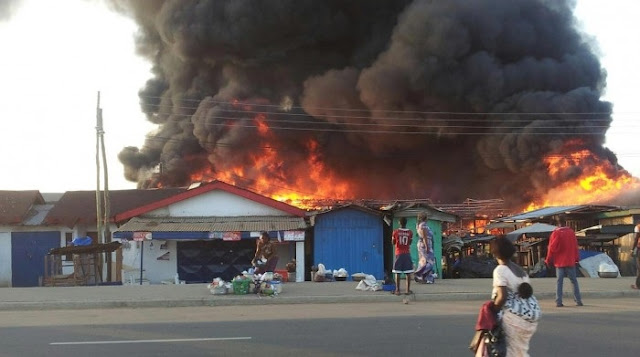 Evening Fire Guts Largest Market in Asaba In Delta
