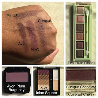 pixi plum quartz, avon plum burgundy, NYC union square, clinique chocolate covered cherry swatched on dark skin