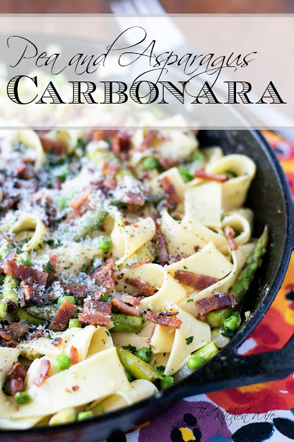 The finished pan of pea and asparagus carbonara with the title above it.