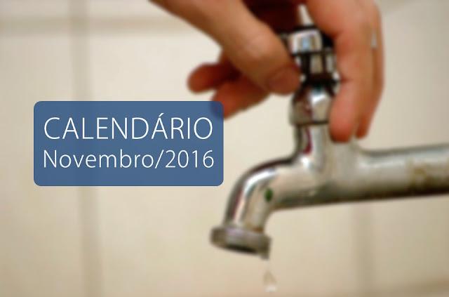 calendário de abastecimento de água da Compesa para o mês de Novembro/2016 na cidade de Panelas-PE