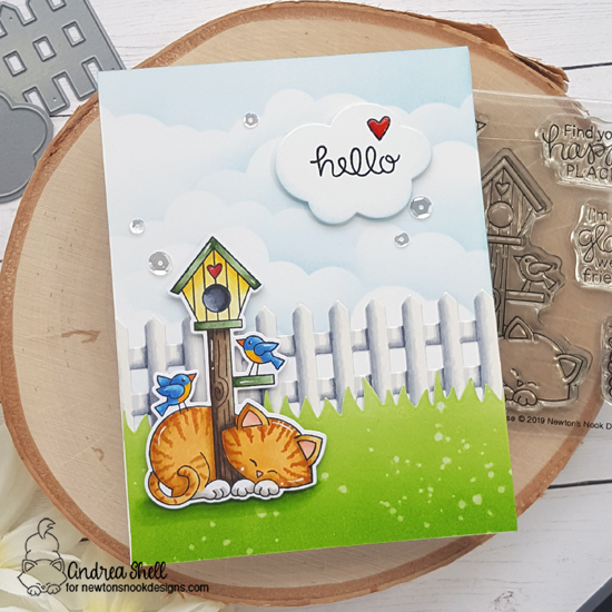 Sweet Hello Card by Andrea Shell | Netwon's Birdhouse Stamp Set, Land Borders Die Set, Fence Die Set, and Speech Bubbles Die Set by Newton's Nook Designs #newtonsnook #handmade