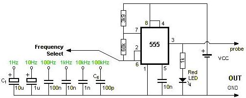 Square Wave Generator with 555 Timer Circuits Diagram