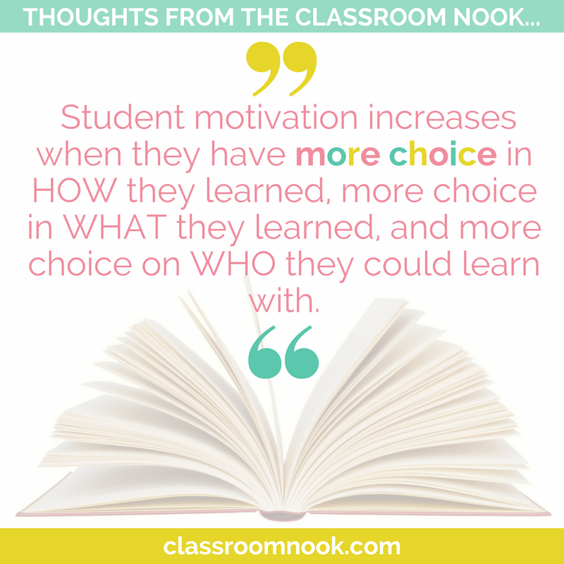student motivation increases when students have more choice in how they learn, what they learn, and who they learn with