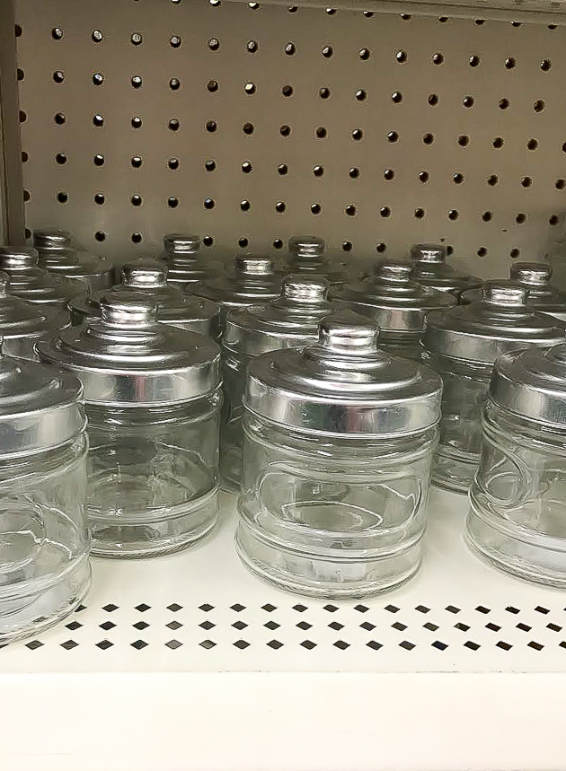 Dollar Tree clear glass storage jars