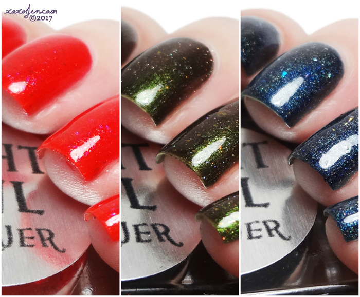 xoxoJen's swatches of Night Owl Gone Camping trio