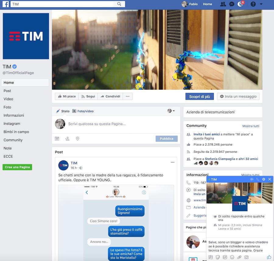 come farsi contattare da TIM su facebook