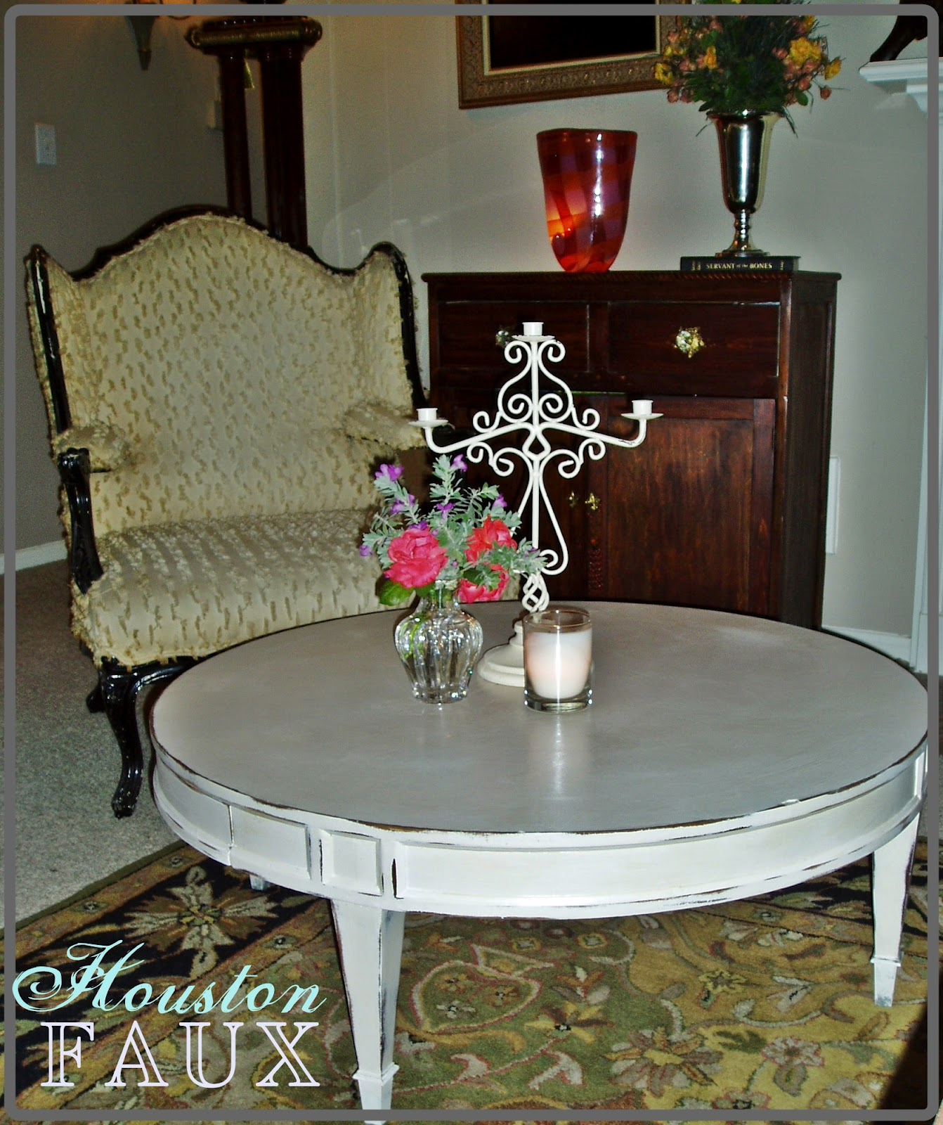Shabby Chic Round Wood Coffee Table: Faux Painting + Furniture: BACK To BASICS... Round Coffee