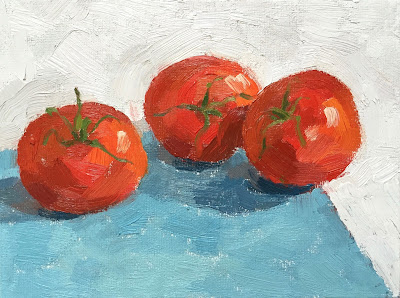 Daily Painting #11 'Vine Tomatoes' 6×8″ Oil on Board