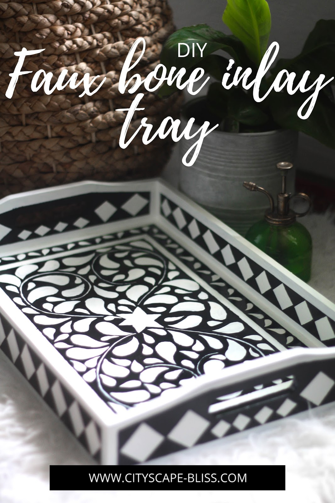 DIY beautiful faux bone inlay tray