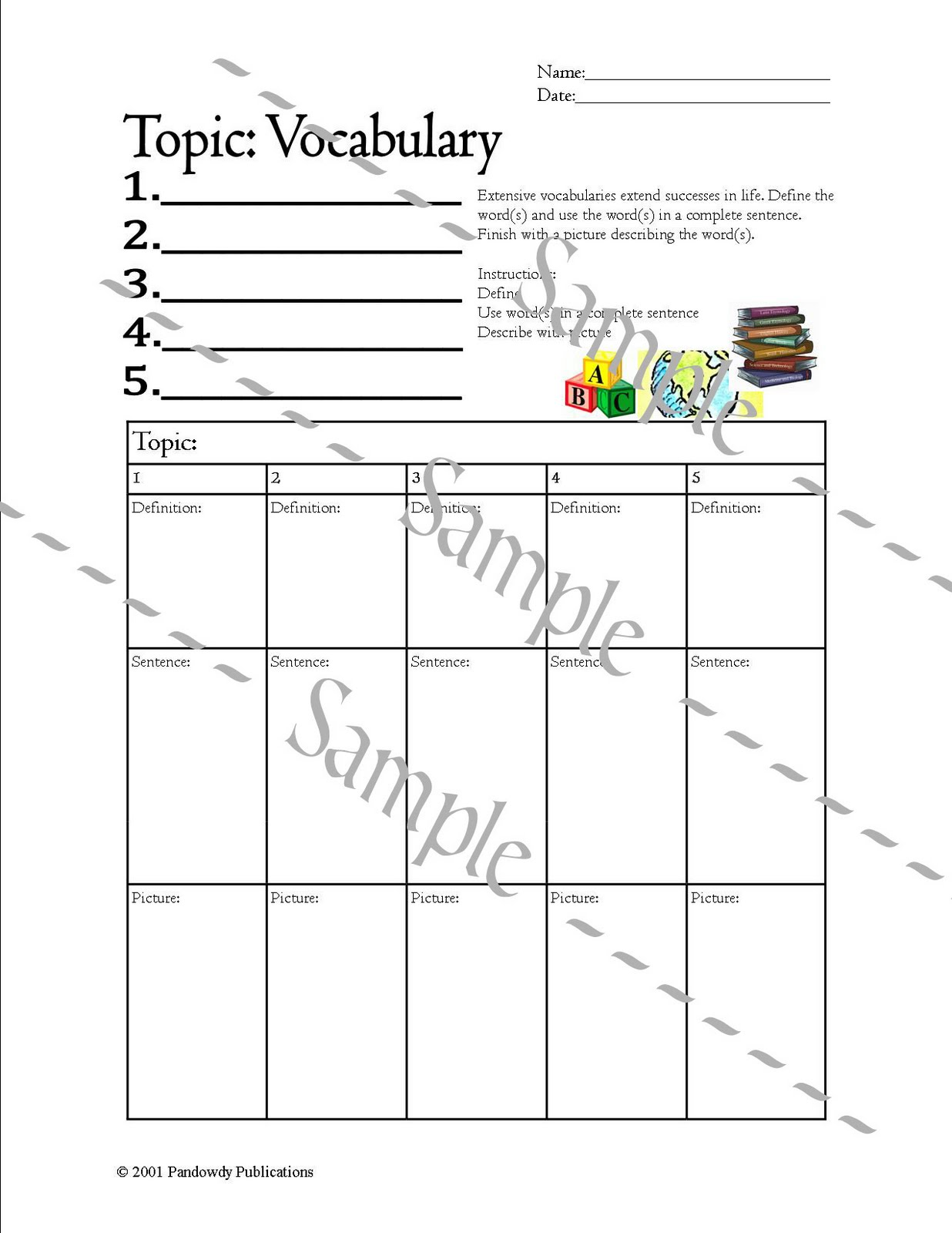 Pandowdy Publications Generic Vocabulary Worksheet