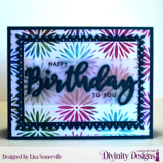 Divinity Designs Stamp/Die Duos: Birthday, Custom Dies: Pierced Rectangles, Lavish Layers, Mixed Media Stencils: Flower Burst