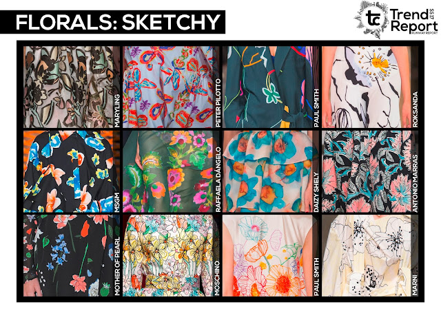 sketchy florals, illustrative florals, outline florals, floral design, floral print, floral fashion, floral design,Textile candy, www.textilecandy.com, www.textilecandy.blogspot.co.uk, trend report, runway report, Spring/Summer 2017, runway collection, catwalk report, fashion trend, print design, SS17