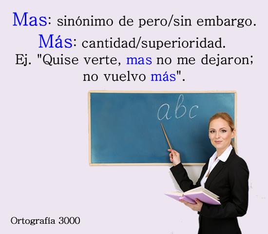 Ortografía 3000 Diferencia De Mas Sin Tilde Y Más Con Tilde