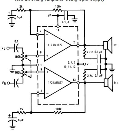 LM1877 bassed Audio power amplifier circuit and