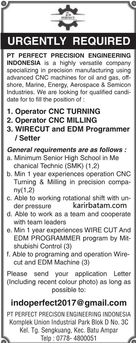 Lowongan Kerja PT. Perfect Precision Engineering Indonesia