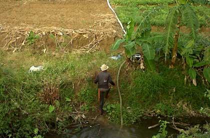 pengairan lahan pertanian terpaksa gunakan kompresor