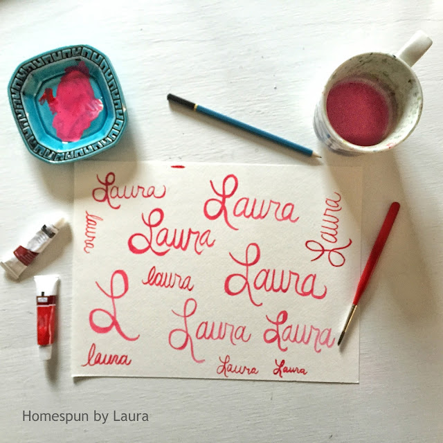 homespun by laura daily doodle brush lettering calligraphy watercolor