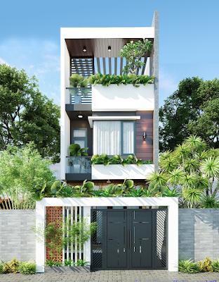 Phối cảnh thiết kế mặt tiền nhà phố rộng 5 mét